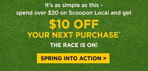 在 Scoopon 本地类团购购物满$20 可免费获得价值10刀的代金券一张!