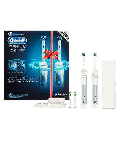 博朗 Oral-B Genius 8000型 专业护理智能电动牙刷 两只装(两个手柄+4个牙刷头)- 5折优惠!