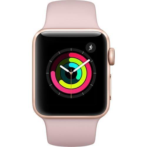 Apple Watch Series 3 智能手表(GPS款 38毫米 金色铝金属表壳 粉砂色运动型表带 MQKW2)85折优惠!