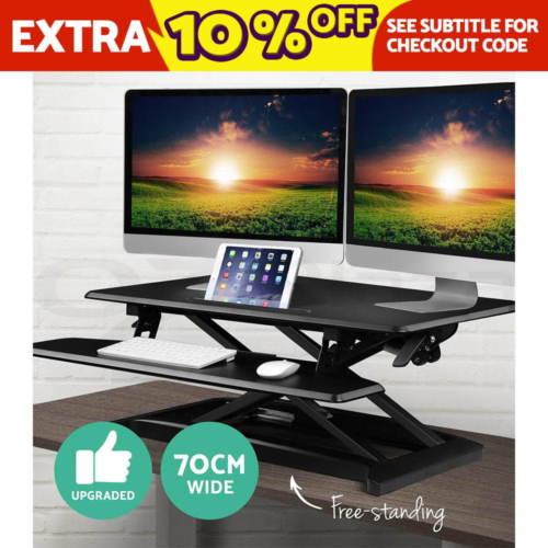 Work Smart 可调节坐站两用 黑色升降桌上办公桌 3折优惠!