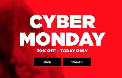 """时尚服装品牌 G-Star Raw """"Cyber Monday""""活动:全场所有商品额外7折优惠!"""