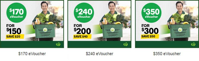 澳洲超市 Woolworths Online 代金券:170刀的售价0!240刀的售价只要0!350刀的售价0!