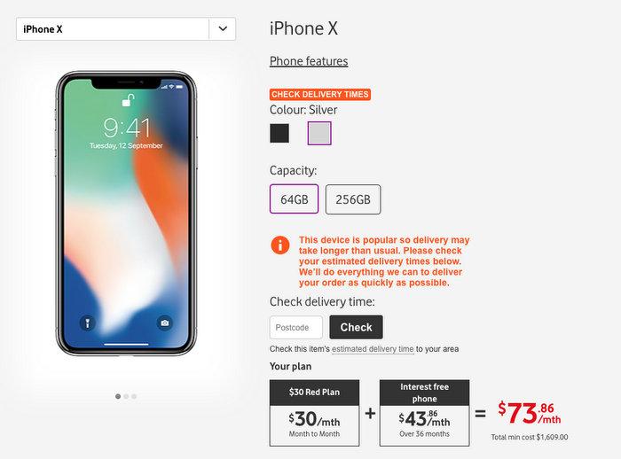 Vodafone iPhone X 套餐:36个月合约 每月手机及电话套餐费用仅从$73起(30刀的电话套餐+$43的手机费)!