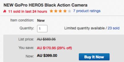 GoPro Hero5 Black 超高清4K运动摄像机 低至63折优惠!