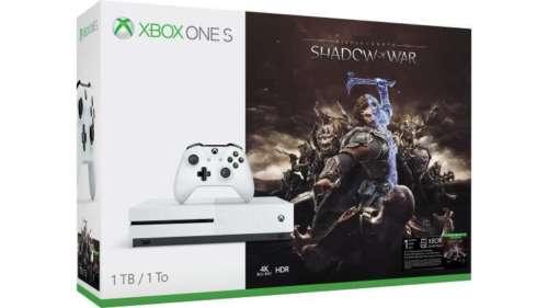 微软 Xbox One S 1TB 版 游戏主机 + 战争之影 Shadow of War 游戏套装 78折优惠!