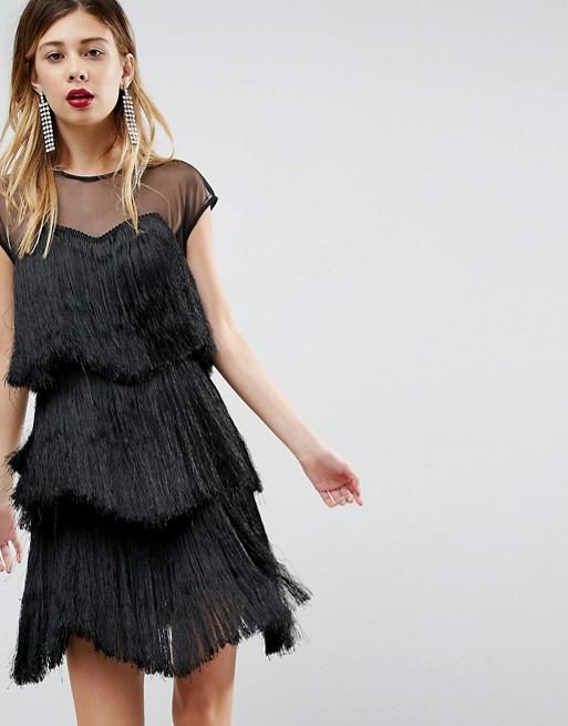 ASOS ULTIMATE Fringe Layered 黑色流苏蛋糕连衣裙 7折优惠!