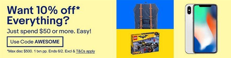 eBay 澳洲官网特卖:全场所有商品 购物满$50 即可享受额外9折优惠!