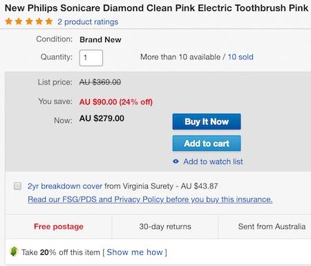 PHILIPS 飞利浦 Sonicare DiamondClean HX9362/67 声波电动牙刷 粉色款 - 6折优惠!