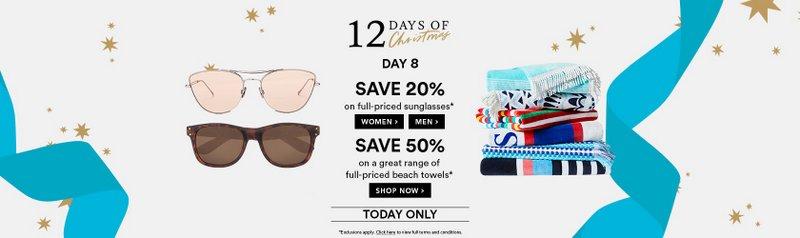 澳洲商城 David Jones 圣诞节活动:所有全价太阳镜 –  Ray-Ban、Fendi、Celine、Tom Ford 等多个品牌的商品