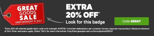 团购网站 Groupon:部分精选商品类团购在原有团购价基础上 可额外再减20%!