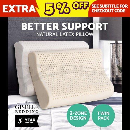 Giselle Bedding 100%天然乳胶枕头 2只装 低至3折优惠!