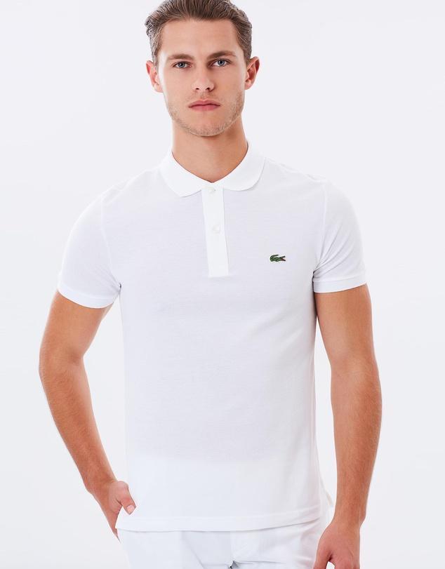 Lacoste Slim Fit Core 纯白色修身男士 Polo衫 85折优惠!