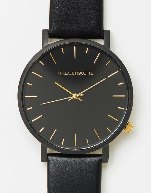 Thread Etiquette 黑色表盘金色指针男款时尚腕表 5折优惠!