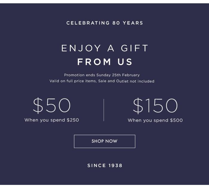 时尚品牌 Oroton 周年庆活动:正价商品购满$250 将获得50刀的礼品券一张!