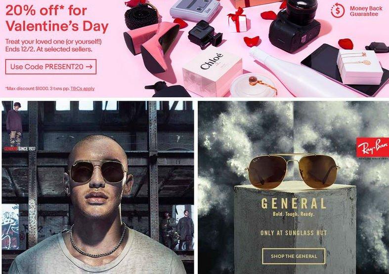 太阳镜专卖网站 Sunglass Hut 官方 eBay 店情人节活动:所有全场所有商品额外8折优惠!