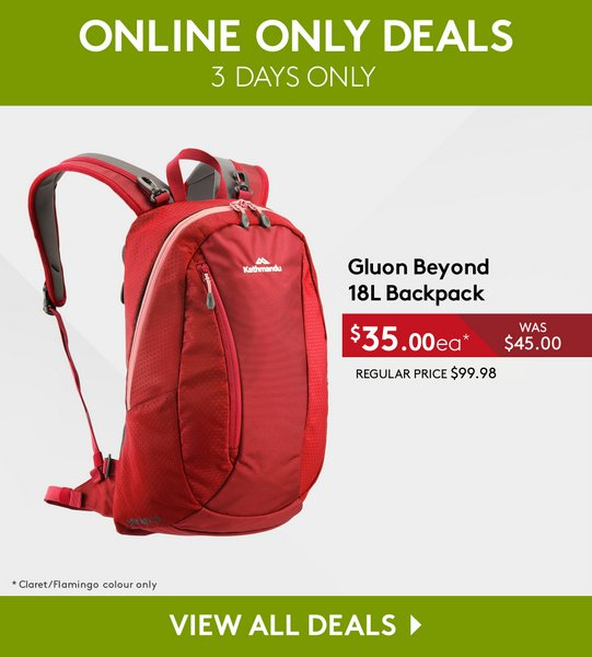 Kathmandu Gluon Beyond 18L 深红色双肩背包 低至35折优惠!