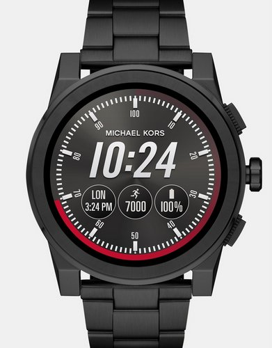 MICHAEL KORS Grayson 男款时尚黑色精钢智能腕表 – 半价优惠!