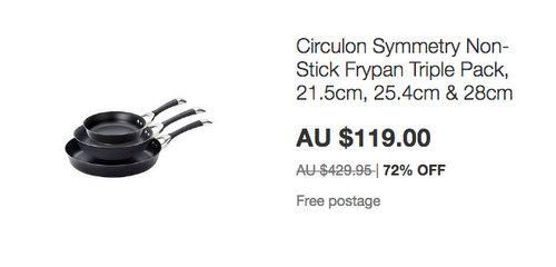 Circulon Symmetry 不粘煎锅 平底锅 三件套 - 低至25折优惠!