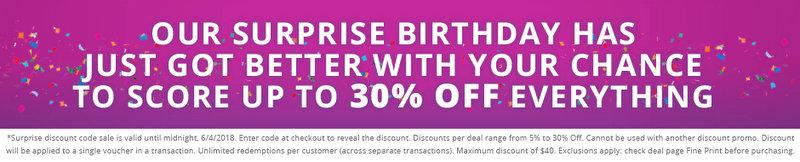 团购网站 Groupon 周年庆活动:全场所有团购最高可额外再减30%!