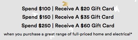 澳洲商城 David Jones:家用电器类商品 购物满$250 可免费得价值60刀的购物卡一张!