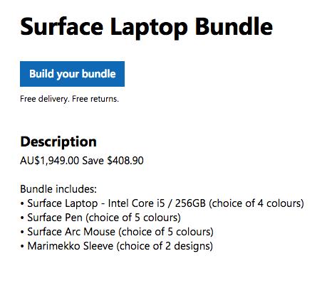微软澳洲官网母亲节活动:Surface Laptop 套装(i5/256GB款+笔+鼠标+保护套)现价只要49!