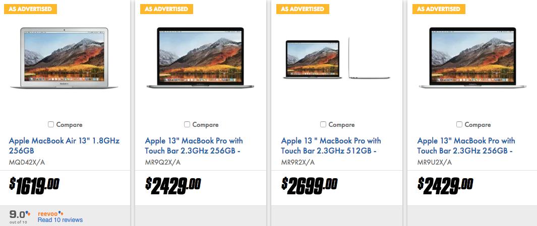 澳洲家电卖场 The Good Guys 特价活动:苹果品牌电脑 - MacBook Air、MacBook Pro、iMac 等 - 9折优惠!