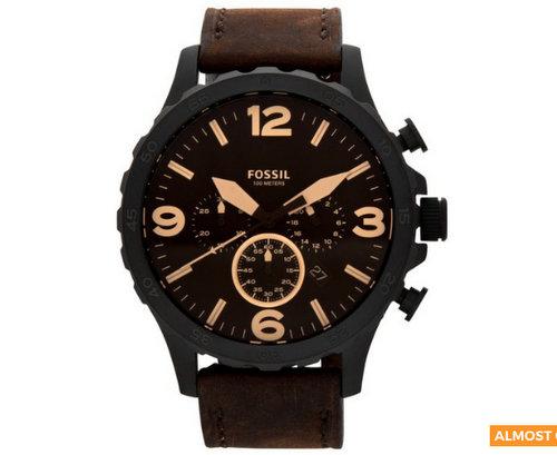 Fossil Nate Leather 50mm 棕色皮带 男士手表 JR1487 特卖价只要$119!