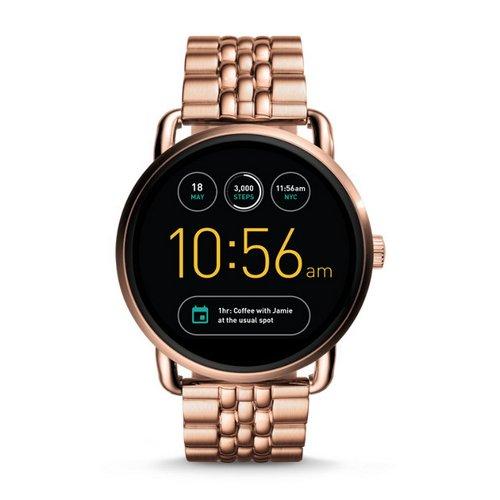 Fossil Gen2 FTW2112P Q Wander 系列 玫瑰金色钢带 触屏智能时尚腕表 6折优惠!