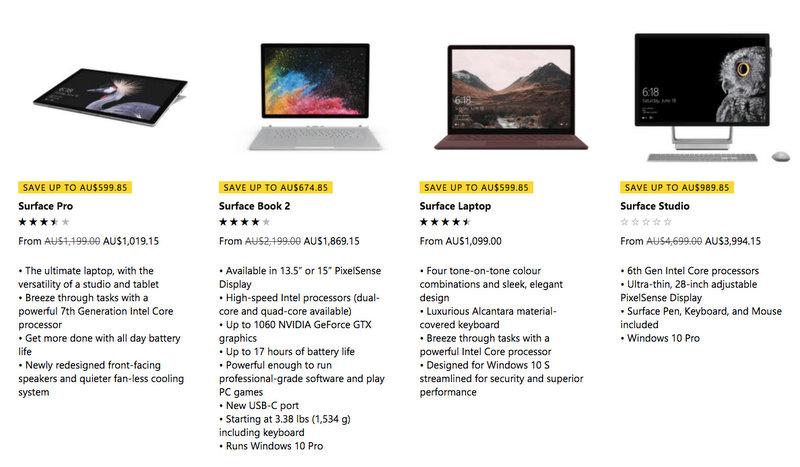 微软澳洲官网财年末活动:部分精选 Surface 系列电脑 - Surface Pro、Surface Book 2、Surface Laptop、Surface Studio 等 - 85折优惠!