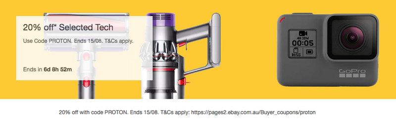 eBay 澳洲8月活动:部分精选家用电器及数码商品 额外8折优惠!
