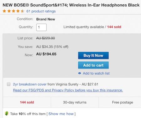 [eBay Plus] Bose SoundSport Wireless 入耳式运动无线耳机 - 76折优惠!