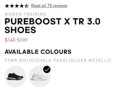 adidas Pureboost X Tr 3.0 WhiteChalk Pearl Silver Met