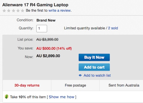 ALIENWARE 外星人 17 R4 17.3寸游戏本(i7-7700HQ、32GB、256GB+1TB、GTX1060)低至77折优惠!
