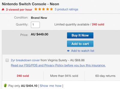 Nintendo 任天堂 Switch 红蓝配色游戏主机 - 额外9折优惠!
