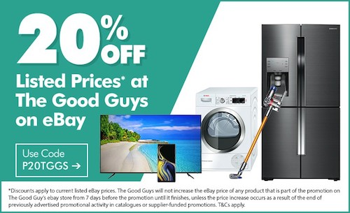 澳洲家电卖场 The Good Guys eBay 店:全场所有商品享额外8折优惠!