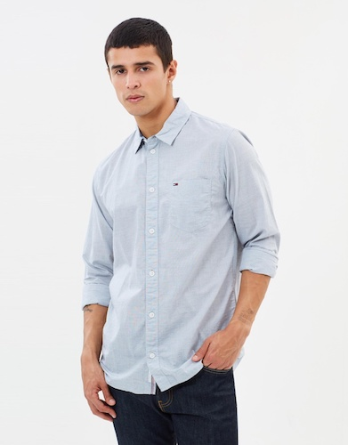 TOMMY JEANS Essential Solid Shirt 淡蓝色长袖男士衬衫 7折优惠!