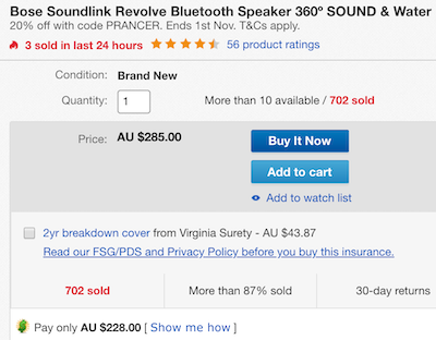 Bose Soundlink Revolve 无线蓝牙音箱 360度环绕 防水 黑色 - 8折优惠!