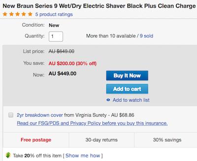澳洲省钱快讯【ebay优惠码】                         BRAUN 9系列 9280CC 干湿两用电动剃须刀(带清洁底座)- 低至55折优惠!                         券后$359! 5