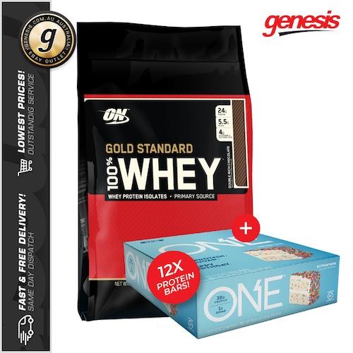 Optimum Nutrition 欧普特蒙 Gold Standard 100% Whey 黄金标准蛋白粉 10磅装 + 12支蛋白棒 – 8折优惠!