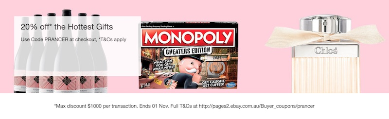 eBay 澳洲:部分精选圣诞礼物 – 8折优惠!