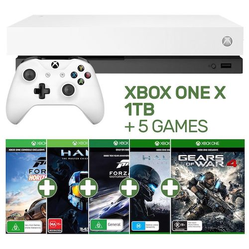 微软 Xbox One X 1TB 游戏主机 + 5个游戏 套装 黑白两色可选 – 9折优惠!