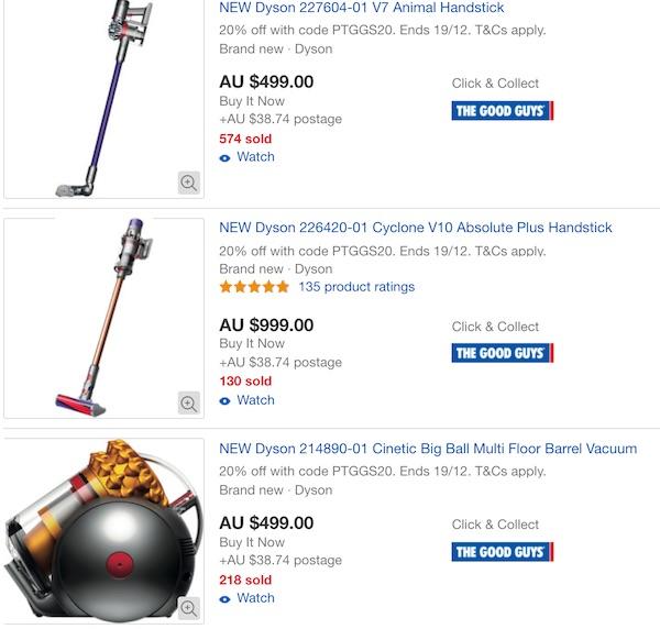The Good Guys eBay 店:戴森 Dyson 品牌吸尘器 - 8折优惠!