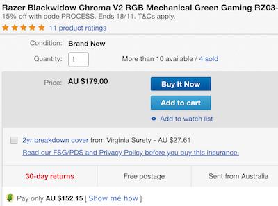 RAZER 雷蛇 BlackWidow Chroma V2 RGB 游戏机械键盘 - 85折优惠!