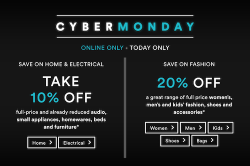 """澳洲商城 David Jones """"Cyber Monday"""" 活动:部分电子及家庭用品 – 额外9折优惠!"""