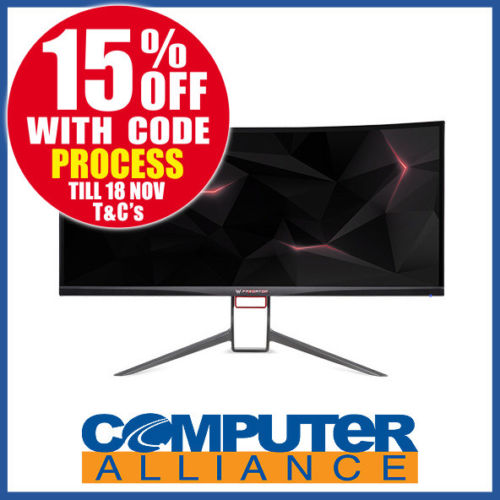 Acer Predator X34P 34寸 曲面电竞显示器(3440×1440、G-Sync)- 85折优惠!
