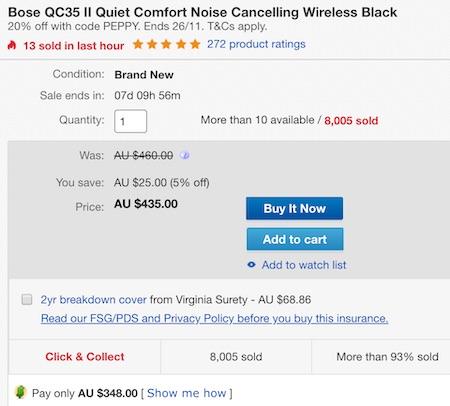 澳洲省钱快讯【ebay优惠码】                         BOSE QuietComfort 35 II(QC35二代)头戴式无线蓝牙主动降噪耳机 – 76折优惠!                         券后$348!还能退税! 3