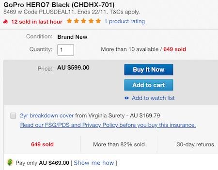 GoPro HERO7 Black 运动相机 4K高清防抖 2018旗舰款 - 直降130刀!