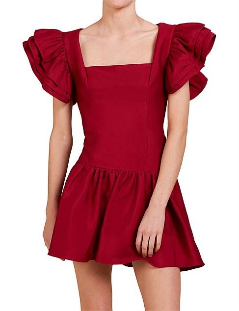 C/MEO COLLECTIVE褶皱花边短袖方领连衣裙 7折优惠