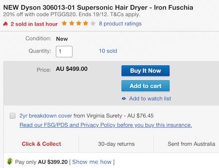 澳洲省钱快讯【ebay优惠码】                         Dyson 戴森 Supersonic 无风叶高颜值电吹风 三色可选 – 8折优惠!                         券后$399!可退税! 3