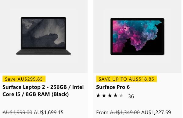 微软澳洲官网活动:Surface 系列产品 - Surface Pro 6 及 Surface Laptop 2 等 - 85折优惠!